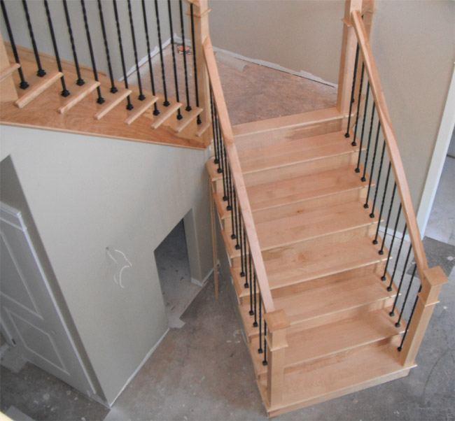 Square Craftsman Newel Post & Twist Metal Balusters - Picture #3