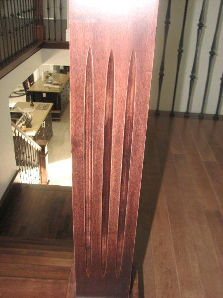 Oversized Fluted Box Newels & Hammered Spoon Metal Balusters - Picture #6