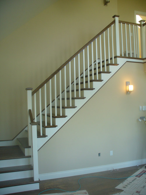 ... White Square Balusters U0026 White Square Post With Stained Top Cap    Picture #2 ...