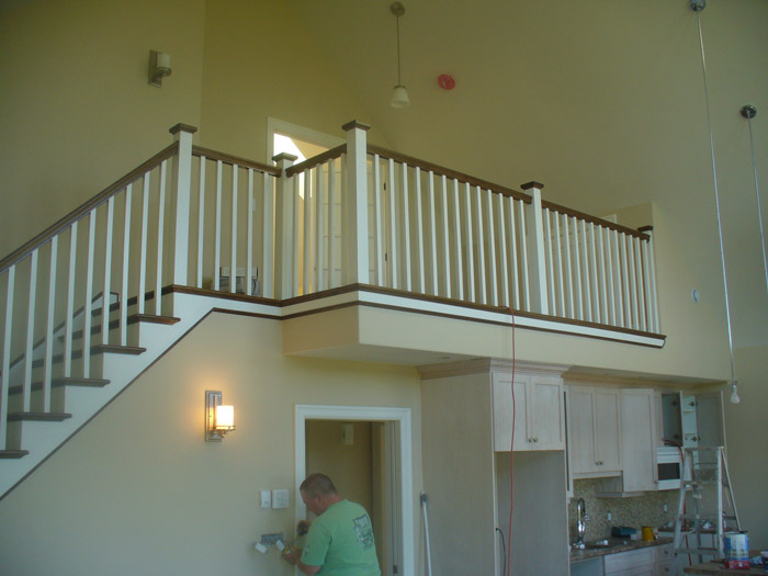 White Square Balusters & White Square Post With Stained Top Cap - Picture #3