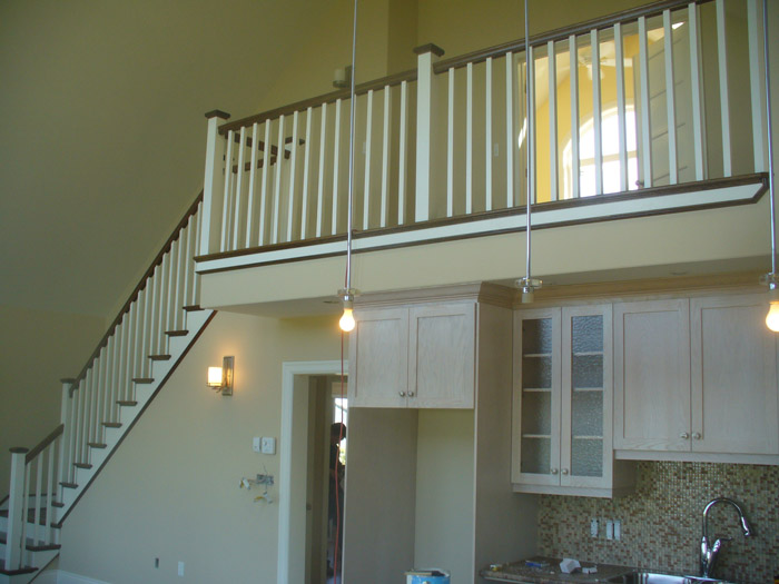 White Square Balusters & White Square Post With Stained Top Cap - Picture #4
