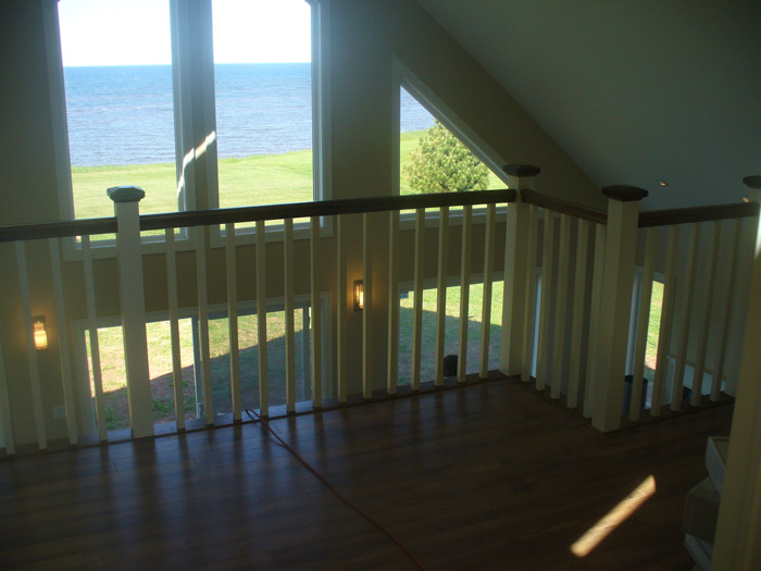 White Square Balusters & White Square Post With Stained Top Cap - Picture #5