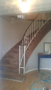 before image carpet and builder grade staircase