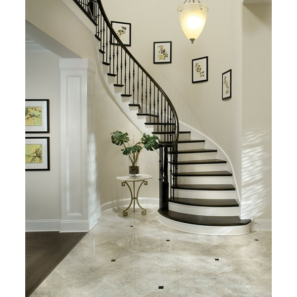 Curved Staircase With Hammered Spoon Metal Balusters