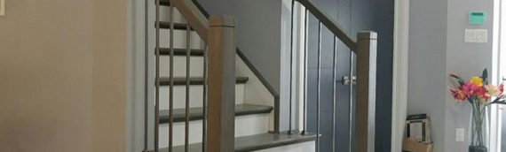 Modern profile hand rail and metal baluster install