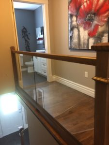 glass panel and box newel post and modern square handrail